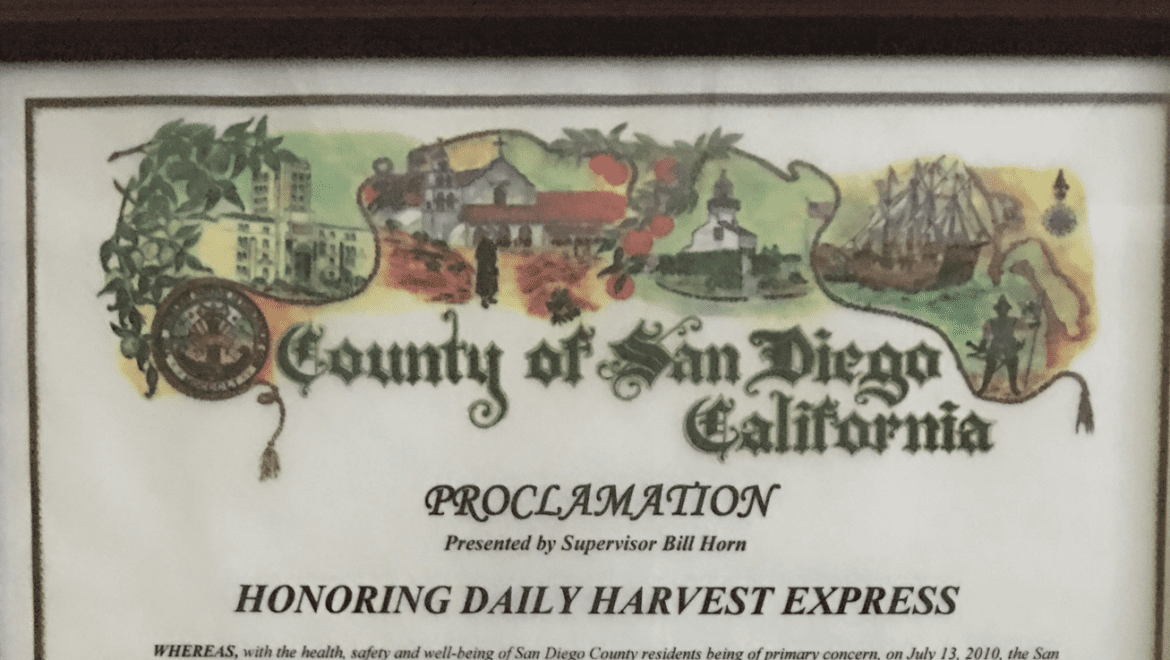 """County of San Diego declares Nov 2nd """"Daily Harvest Express Day"""""""
