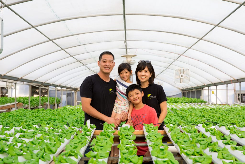 Endeavour Shen with family at Sundial Farms. Local food, CSA - San Diego, CA.