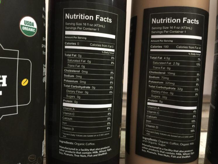 ki's cold brew coffee nutrition