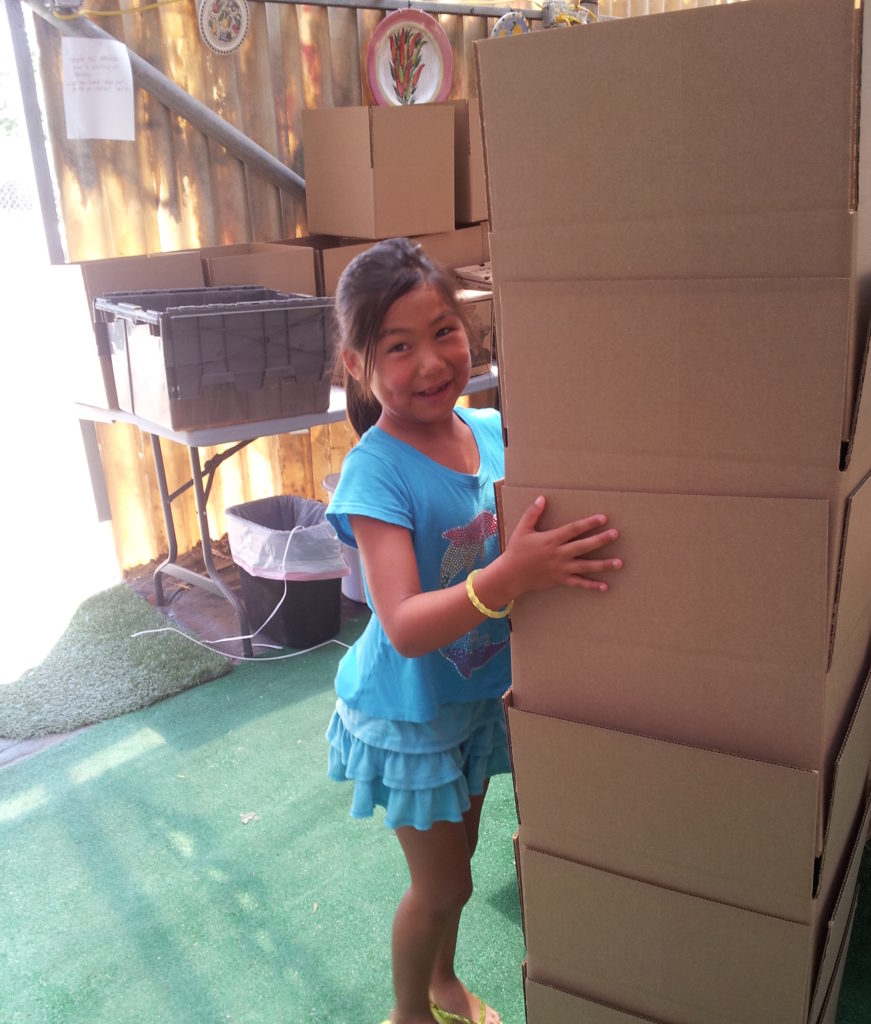 All hands on deck! Granddaughter Jadyn helping out.