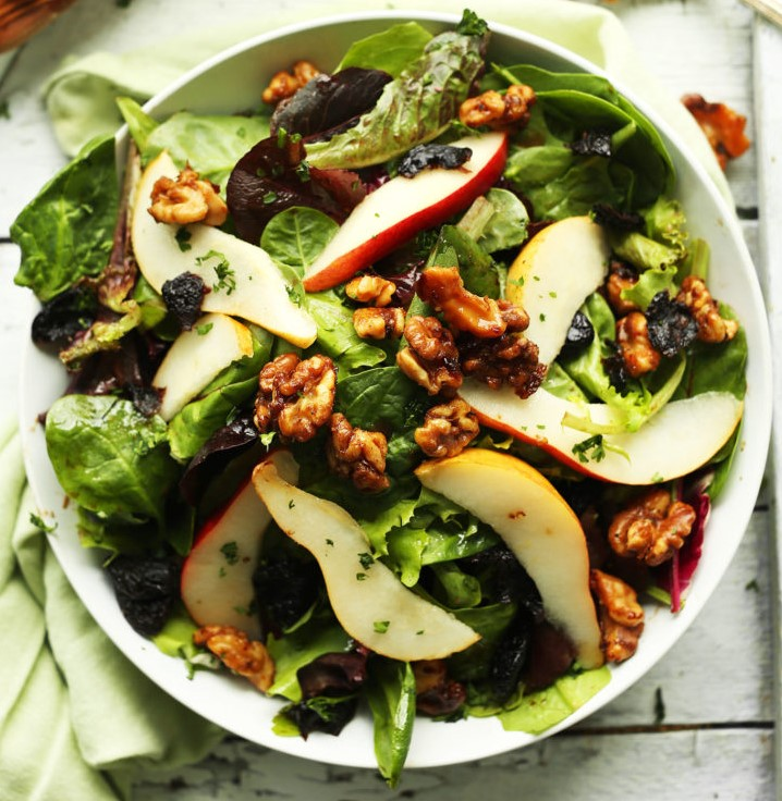 Pear Balsamic Salad with dried cherries and candied walnuts