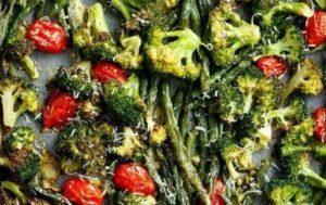 Sheet Pan Garlic Parmesan Roasted Broccoli & Green Beans