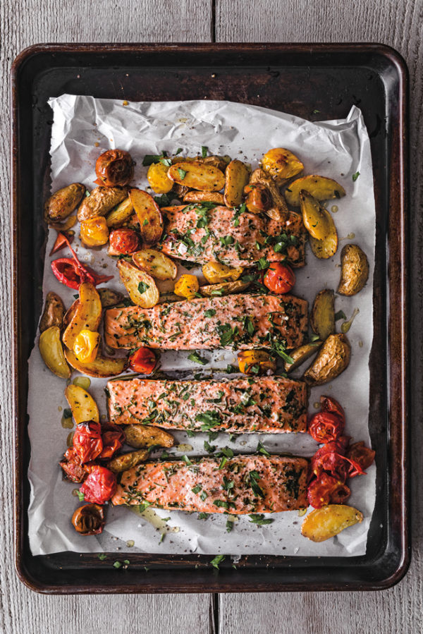 roast salmon with potatoes and tomatoes