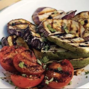 grilled eggplant tomatoes and zucchini
