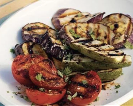 Grilled Eggplant, Zucchini & Tomatoes with Breadcrumbs & Parmesan