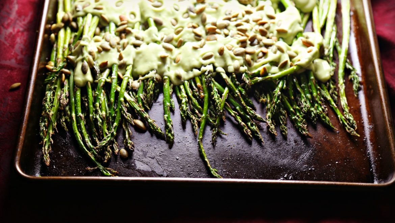 Roasted Asparagus with Avocado Cream Sauce