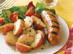 Grilled Sausage, Peppers & Potatoes with Mixed Greens and Plum Dressing