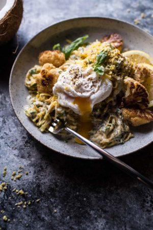 Creamy Coconut Cashew Spaghetti Squash With Roasted Broccoli