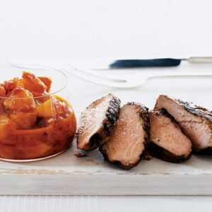 grilled pork with curried peach relish