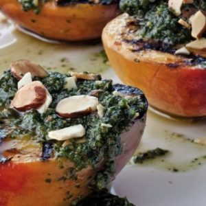 grilled white peaches with almond mint pesto