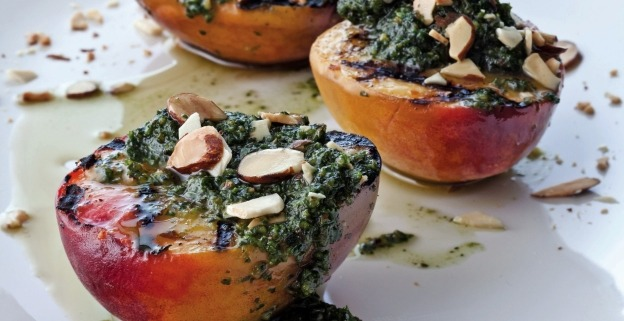 Grilled Peaches with Almond Mint Pesto
