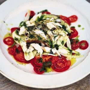 fennel and tomato salad with grilled fish