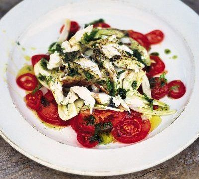 Tomato and Fennel Salad with Grilled Flaked Fish