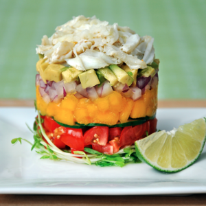 crab stack with microgreens