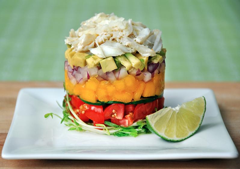 La Jolla Crab Stack with Microgreens