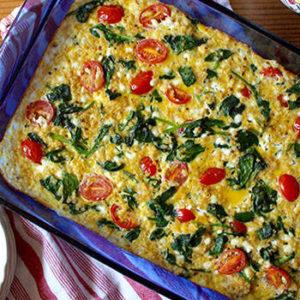 spinach tomato quinoa breakfast casserole