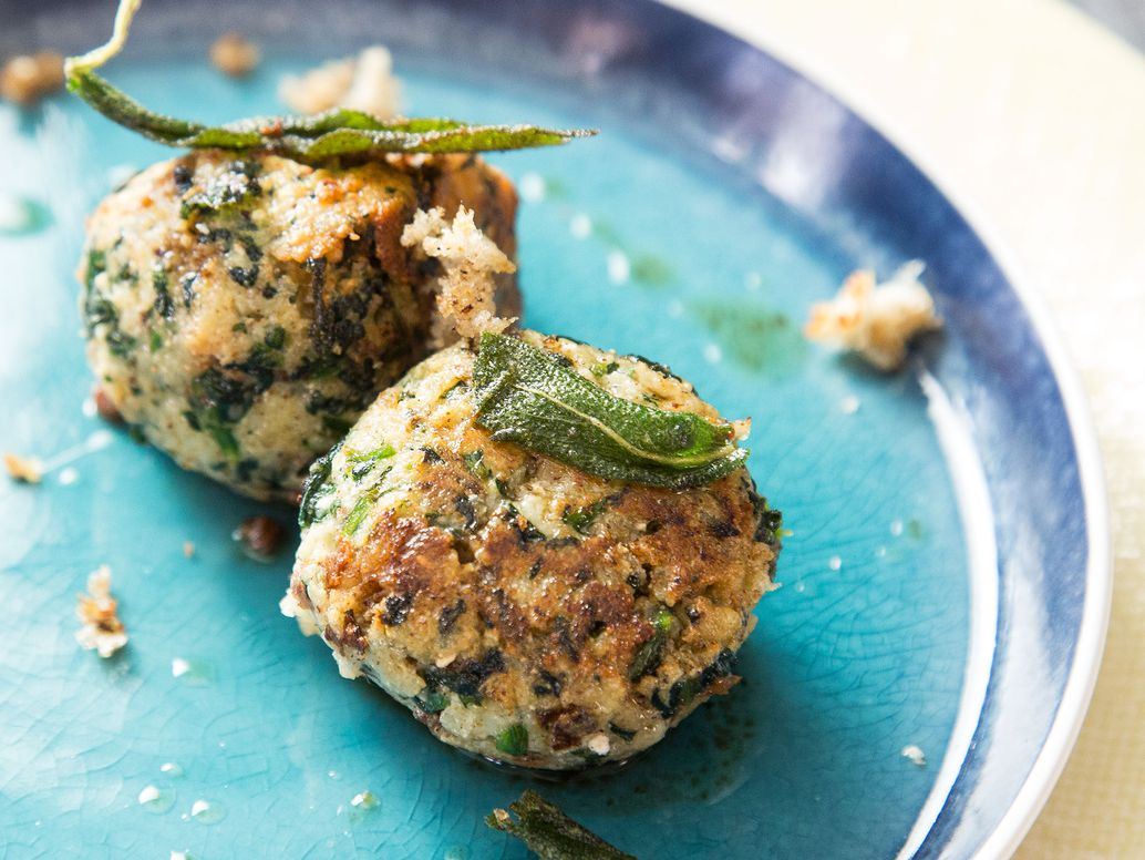 Spinach & Cheese Breadcrumb Dumplings (Stranglopreti)