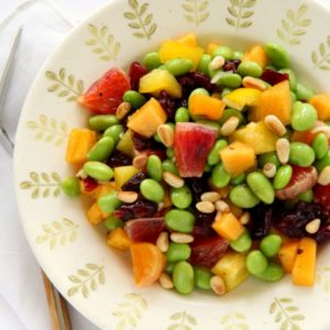 Edamame and Persimmon Salad with Pine Nuts