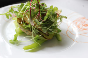 Veggie Patty Stacks with Microgreens and Bell Peppers