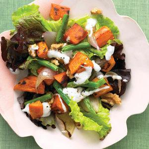 red leaf lettuce & sweet potato salad