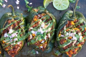 Vegan Stuffed Pasilla Peppers with Spicy Pesto