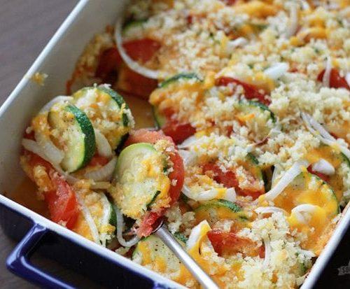 Mexican Squash, Pepper & Tomato Gratin