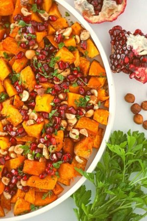 Roasted Butternut Squash with Pomegranates & Hazelnuts