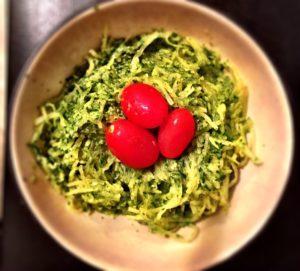 spaghetti squash with creamy avocado & spinach sauce