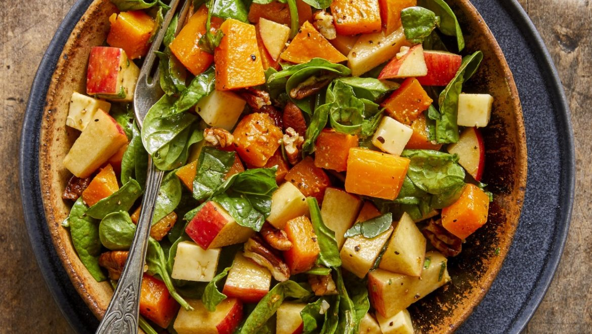 Fall Chopped Salad with Spinach Butternut Squash Apples & Cheddar