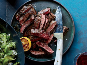 Grilled Skirt Steak with Shishito Peppers & Charred Lemon
