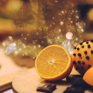 wassail with clove studded oranges