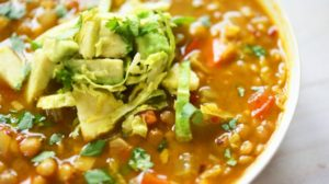Spicy Lentil & Brussels Sprouts Soup