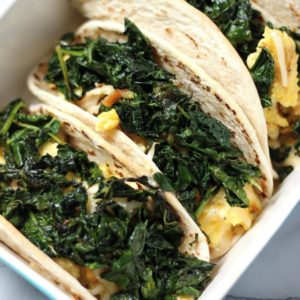 crispy kale and smoked gouda scambled egg tacos