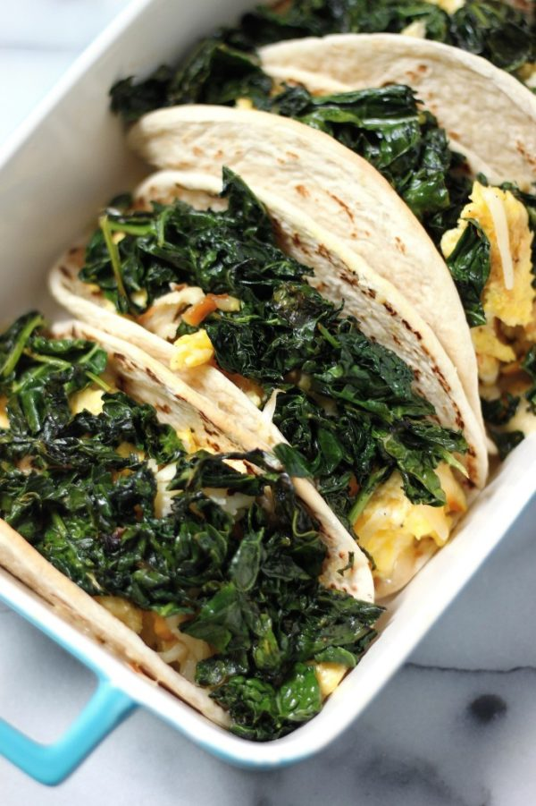 crispy kale and smked gouda scambled egg tacos