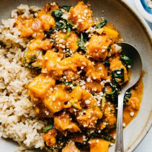 vegan butternut squash & spinach curry