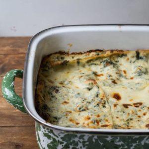 cheesy white & green spinach lasagna