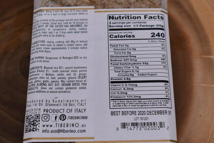 Tiberino Basmati with Porcini Nutrition