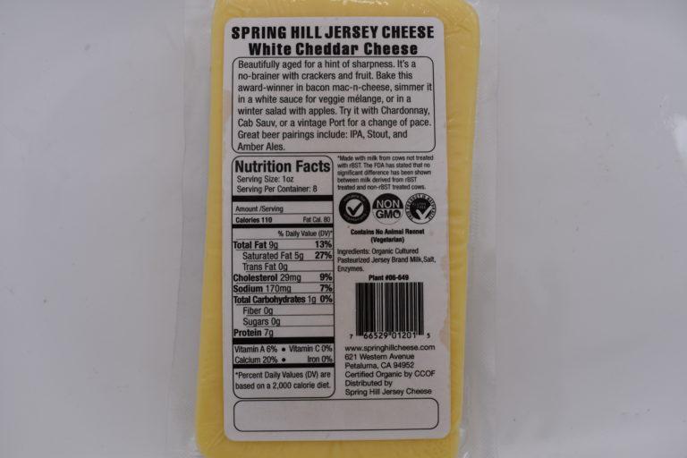organic white cheddar nutrition