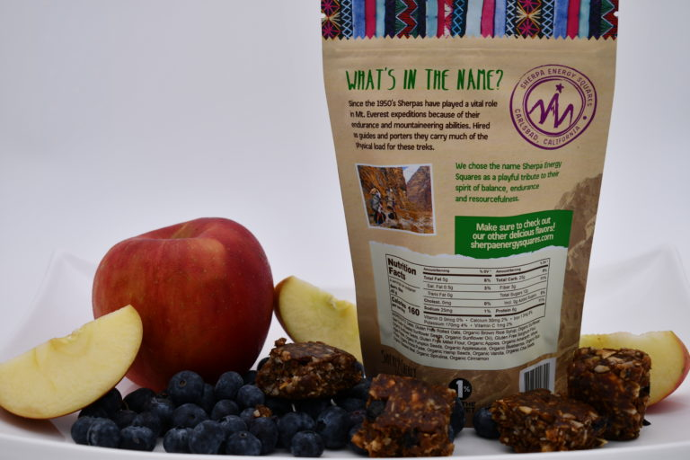 sherpa energy nut free apple blueberry nutrition