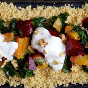 couscous with beets greens and garlic yogurt