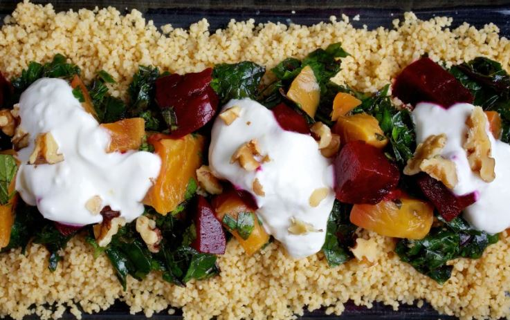 Couscous with Beets, Greens and Garlic Yogurt