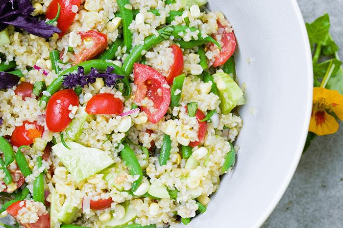Bulgur Tomato Salad with Green Beens and Corn