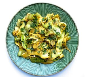 Sauteed Summer Squash Ribbons with Parsley & Garlic