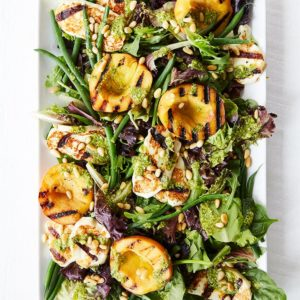 grilled peach salad with cheese