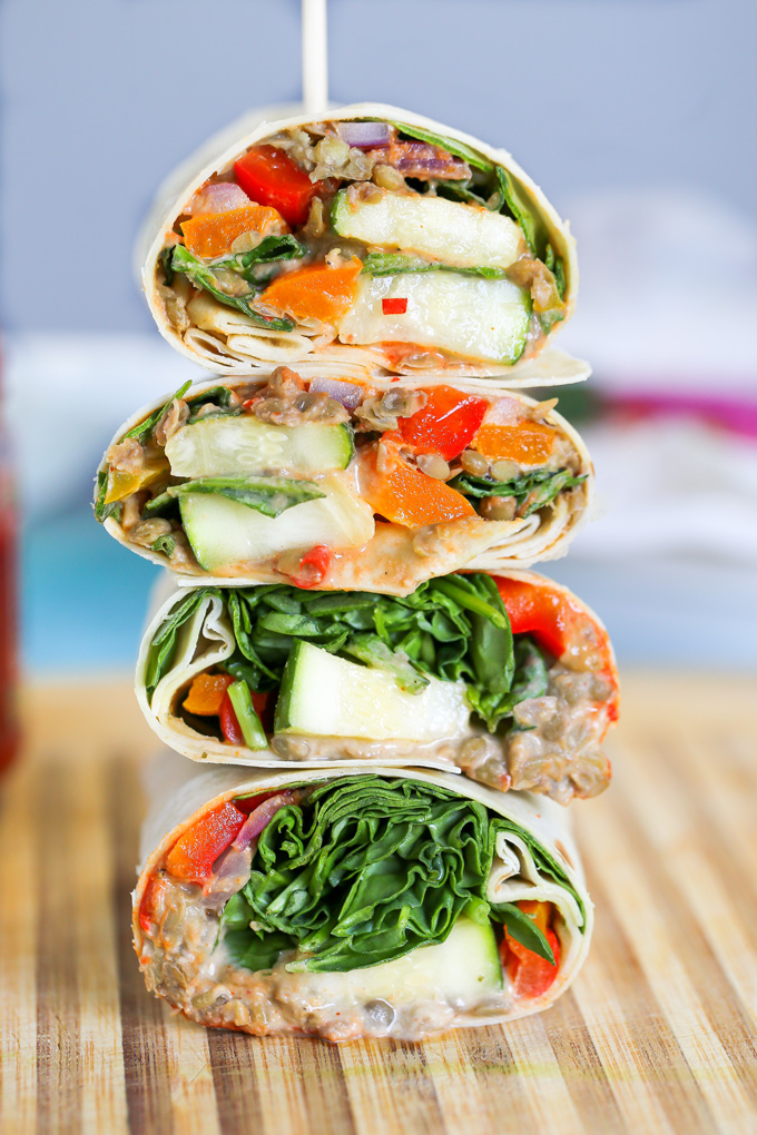 Loaded Veggie & Lentil Wrap