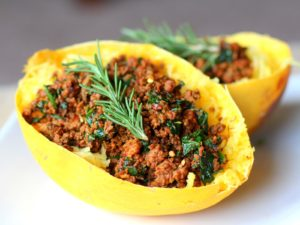 Smokey Bison Stuffed Spaghetti Squash
