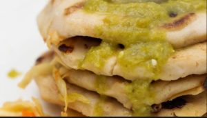 Cheese Pupusas with Tomatillo Avocado Salsa