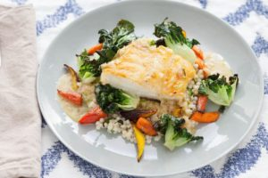 Seared Cod with Tatsoi Greens & Lime Sauce