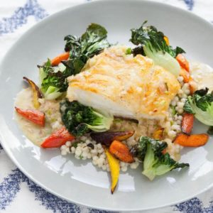 seared cod with tatsoi greens and lime sauce