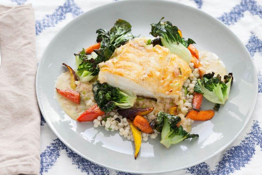 Seared Cod with Tatsoi Greens & Lime Sauce